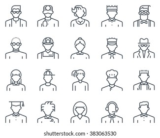 Avatars icon set suitable for info graphics, websites and print media and  interfaces. Line vector icon set.