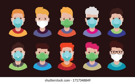 Avatars with medical face mask Surgical masks, face mask