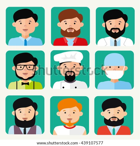 Avatars Men Different Professions Hairstyles Shapes Stock Vector