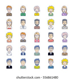 Avatars of men and women vector icons. Vector illustration. Icon set of different face expressions