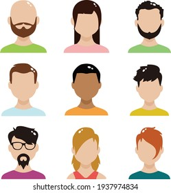 avatars of people with different skin tones, face shapes, and hair shapes