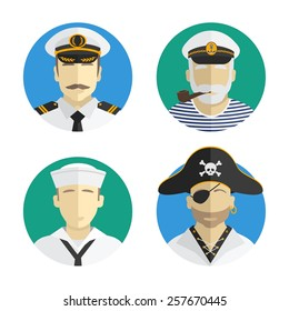 Avatars people profession. sailor. Vector flat design
