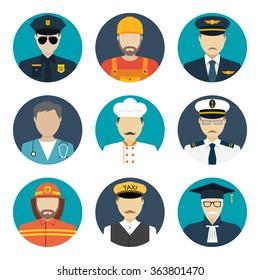 Avatars profession people: cop, builder, pilot, doctor, cook, sailor, fireman, taxi driver, judge. Face men uniform. Avatars in flat design. Vector illustrations