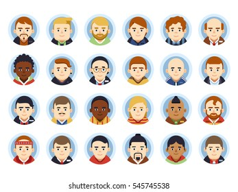 Avatars set. Cartoon flat characters collection. People icons. Vector man's avatar pack.