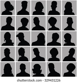 Avatars of silhouettes with different hairstyles. Set of opposite-sex avatars.