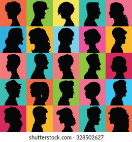 Avatars of silhouettes. Profiles with different hairstyles. Set of opposite-sex avatars.