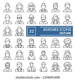 Avatars thin line icon set of character symbols collection, vector sketches,  user signs linear pictograms package isolated on white background, eps 10