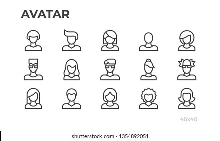Avatars, users vector icons and profile pictures for website, application, ui. Editable line. Pixel perfect.