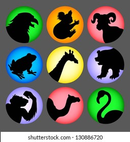 Avatars vector - animal silhouette 2 icons. Black shadow symbol animal character. Use for any design you want. Easy to use.