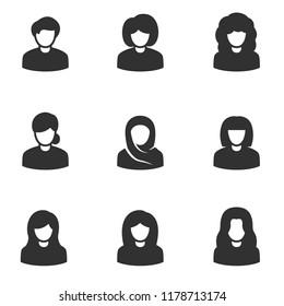 Avatars of women, monochrome icons set. , simple symbols collection