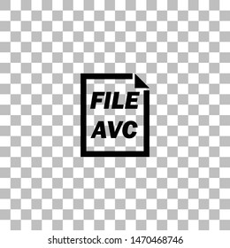 AVC File. Black flat icon on a transparent background. Pictogram for your project