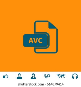 AVC file. Blue symbol icon on orange background. Vector illustration and bonus icons Thumb up, Man and Woman avatar, Gears, World map, Headphones