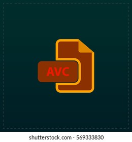 AVC file. Color symbol icon on black background. Vector illustration