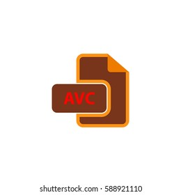 AVC file. Color symbol icon on white background. Vector illustration