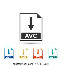 AVC file document icon. Download AVC button icon isolated on white background. Set elements in colored icons. Flat design. Vector Illustration