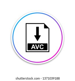 AVC file document icon. Download AVC button icon isolated on white background. Circle white button. Vector Illustration