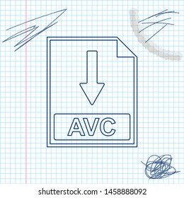 AVC file document icon. Download AVC button line sketch icon isolated on white background. Vector Illustration