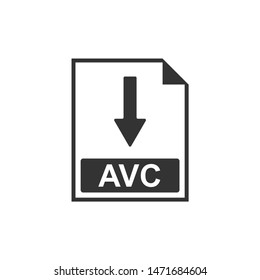 AVC file document icon. Download AVC button icon isolated. Flat design. Vector Illustration
