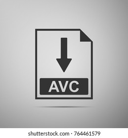 AVC file document icon. Download AVC button icon isolated on grey background. Flat design. Vector Illustration