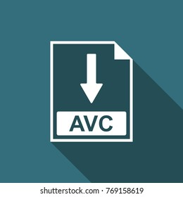 AVC file document icon. Download AVC button icon isolated with long shadow. Flat design. Vector Illustration