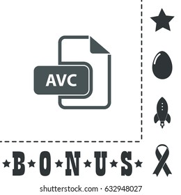 AVC file. Simple flat symbol icon on white background. Vector illustration pictogram and bonus icons