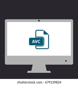 AVC file. Simple flat symbol icon on monitor. Vector illustration pictogram