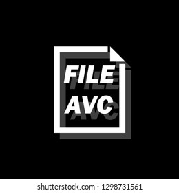AVC File. White flat simple icon with shadow