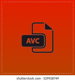 AVC Icon Vector. Black flat button on red background