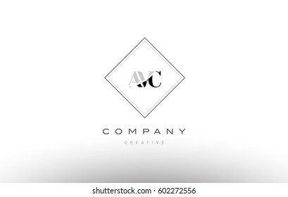 avc a v c retro vintage simple rhombus three 3 letter combination black white alphabet company logo line design vector icon template