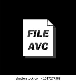 AVC. White flat simple icon with shadow