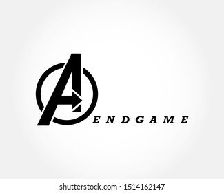 Avengers Endgame logo on the  on white background