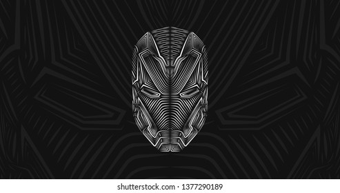 Avengers Iron Man head suit.Patterned head of the AI robot, vector illustration in line style. Sketch for adult antistress coloring page, tattoo, poster, print, t-shirt and so on. Tony Stark.