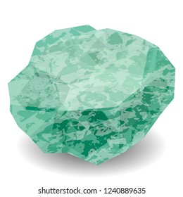 Aventurine. Precious stone, gemstone, mineral. Translucent raw piece of stone. Texture of layers and facets of stone. Geology mining science jewelry background