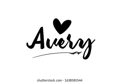 Avery name text word with love heart hand written for logo typography design template. Can be used for a business logotype