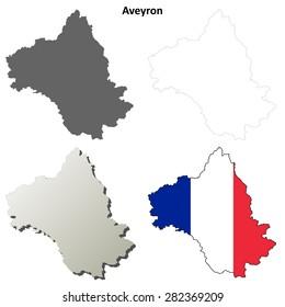Aveyron (Midi-Pyrenees) outline map set