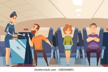 Avia passengers. Boarding stewardess offers food to sitting man in airplane board vector cartoon background