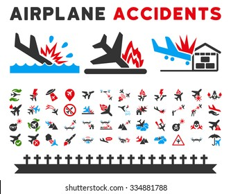 Aviation Accidents Vector Icon Collection. Here are airplane crashes, terrorist attacks, military drones, plane accidents.