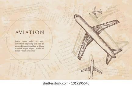 Aviation. Aircraft construction concept. Renaissance background. Medieval manuscript, engraving art