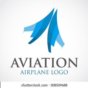 Aviation airplane fly blue transportation abstract vector logo design template jet business air icon company corporate identity symbol concept