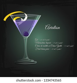 Aviation alcohol cocktail vector