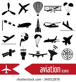 aviation big set of simple icons eps10