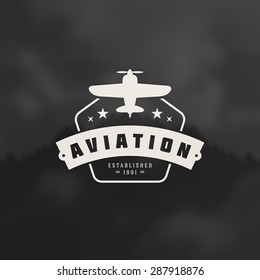 Aviation Design Element in Vintage Style for Logotype, Label, Badge and other design. Airplane retro vector illustration.