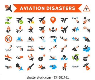 Aviation Disasters Vector Icon Set. Here are airplane crashes, terror drones, military attacks, plane tests.