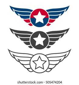 Aviation emblem set, badges or logos. Military and civil aviation icons. Air force symbols. Vector stock illustration.