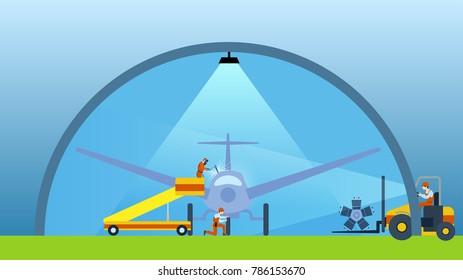 Aviation hangar, technician and welder, airplane aircraft inspection and repair illustration, cartoon flat design style vector.