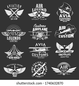 Aviation heraldic icons set, isolated vector labels avia customs and retro aviation symbols of airplane propeller and aircraft wings. Vintage airscrew for aviation legend or best pilot wind chasers