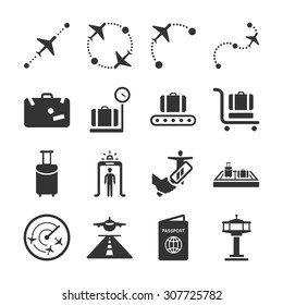 Aviation icon series 1. Included the icons as immigration, airport, route, airplane, runway, passport and more.