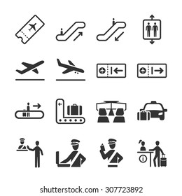 Aviation icon series 2. Included the icons as airport, airplane, immigration officer, security check, information, air ticket and more.