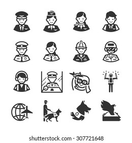 Aviation icon series 3. Included the icons as pilot, flight attendant, engineer, officer, dream, canine and more.