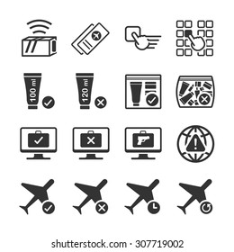 Aviation icon series 5. Included the icons as flight tickets, prohibited, permission, limit, booking, black box and more.